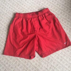 Nike red men's swim trunks size L